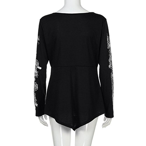 Xxxl Lady Summer Blouse Top black T Casual Active Plus Joint Sleeve Flowers Womens Size shirt Long AZZSWIwxqt
