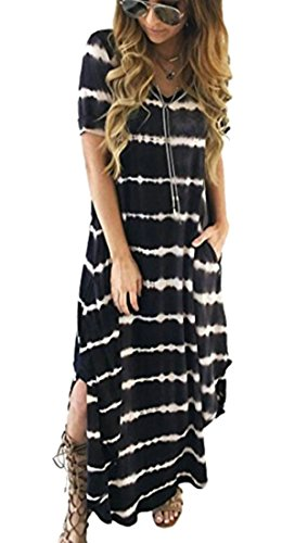 Dress Split Neck Women's Short V Pockets Sleeve Domple Beach Black Long Striped qH65xv