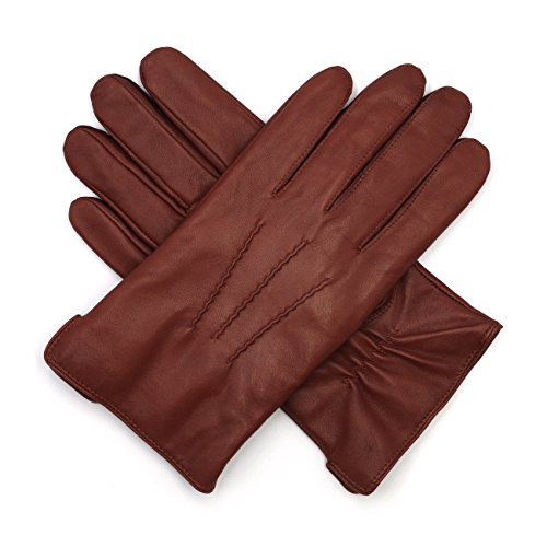Harssidanzar Mens Luxury Italian Sheepskin Leather Gloves Cashmere Lined, Brandy, L