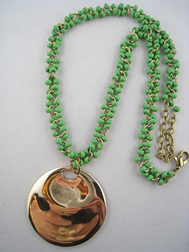 Designer Goldtone Sea-Green Glass Bead Pendant Necklace