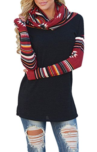 Naggoo Womens Patchwork T shirt Pullover