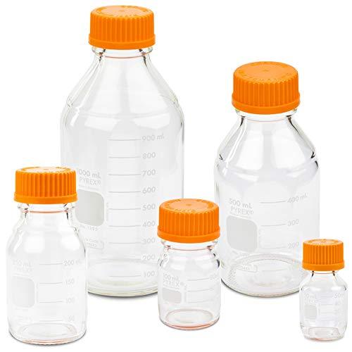 - Corning PYREX #1395-SET, Round Media Storage Bottle Set, with GL45 Screw Cap, 5 Sizes - 50, 100, 250, 500, and 1000ml