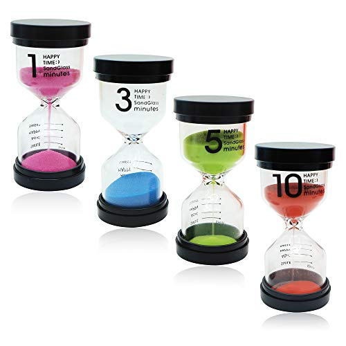 THE TWIDDLERS 4 Set Sand Hourglass | Sand Timers Combo Pack 1/3/5/10 Minutes Sand Timer | Teachers Classroom Hourglass | Hourglass Timer Sets | Teacher Created Sand Timer | Sand Egg Timers for Kids