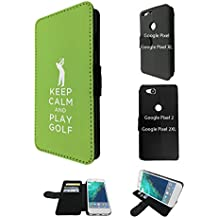 """002787 - Keep Calm And Paly Gold Quote Design Google Pixel 2 XL 6.0"""" Flip Case Purse pouch Stand Cover"""