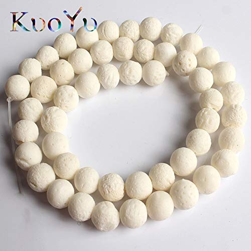Calvas Natural White Sponge Coral Beads Round Loose Spacer Bead 6/8/10/12 mm for Jewelry Making DIY Bracelets Jewellery 15''Strand - (Item Diameter: 8mm 46pcs - Natural White Sponge Coral