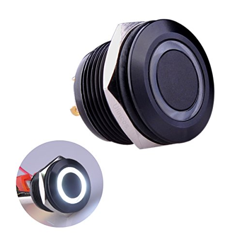 Ulincos Momentary Pushbutton Switch U19D1 1NO SPST Black Metal Shell with White LED Ring Suitable for 19mm 3/4