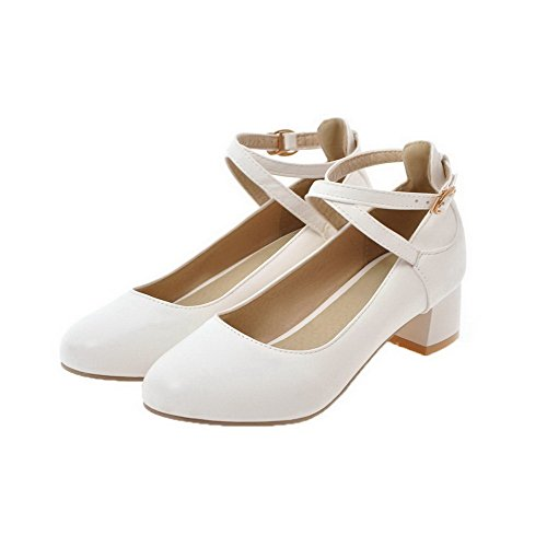Odomolor Women's PU Low-Heels Solid Buckle Round-Toe Pumps-Shoes, White, 42