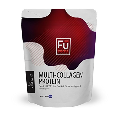 Multi Collagen Peptides Protein Powder - Fū Carbs Blend of Wild Caught Fish, Grass-Fed Beef and Free Range Chicken Eggshell Collagen Provides The Ideal Mix of Collagen Types I, II, III, V, X. 16 oz