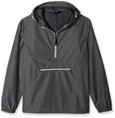 A great packable windbreaker pullover from Charles river apparel. Lightweight and unlined, this pullover quickly and easily packs into its front pouch pocket and zippers closed. Great for your golf bag, a jacket to travel with or an emergency...