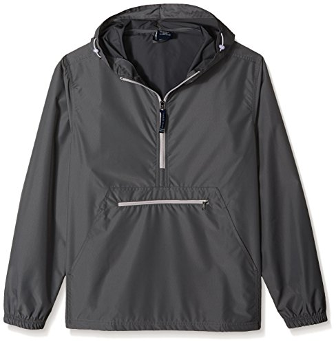 Charles River Apparel Pack-N-Go Wind & Water-Resistant Pullover (Reg/Ext Sizes), Grey, XXL