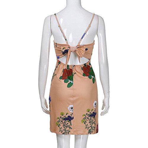 Chanyuhui Femmes Tops Tunique Robes En Vente Dame Floral Dos Bandage Sans Manches Mini Robe De Soirée Jaune