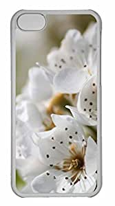 iPhone 5C Case, Personalized Custom White Spring Flowers Macro for iPhone 5C PC Clear Case