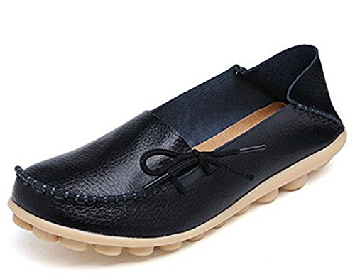 Women's Leather Casual Moccasin Loafers Driving Walking Shoes Outdoor Flat Slip-on Slippers