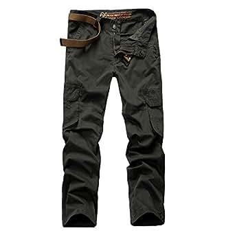 OCHENTA Women's Multi Pockets Utility Cargo Pants, Casual Cotton Straight Leg Army Green 32-US 12