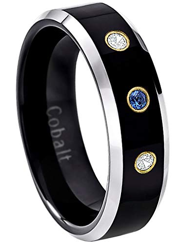 Sapphire Diamond Tungsten - Jewelry Avalanche 6MM Comfort Fit Polished 2-Tone Black Ion Beveled Edge Cobalt Chrome Wedding Band - 0.21ctw Blue Sapphire & Diamond 3-Stone Cobalt Ring -10.5