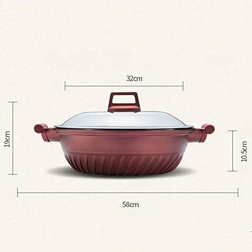 XH&XH Maifanshi Wok Pot de Pelle en Fer Non revêtu à Fond Plat à Fond Plat Poêle antiadhésive à Faible fumée pour cuisinière à gaz à Induction à feu Direct (avec Couvercle)