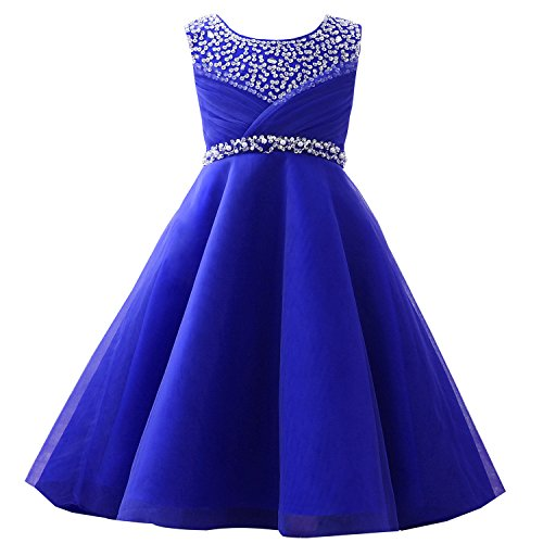Castle Fairy Girls' First Communion Organza Sequin Pearls Flower Girl Dress with Train (12, Blue) ()