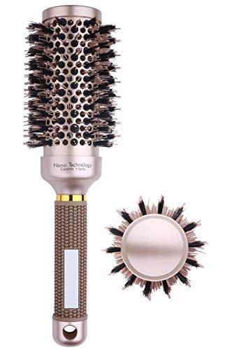 Ceramic Round Metal Brush for Blow Drying, Boar Bristle Round Hair Brush for Women, Roller Hairbrush for Curling&straightening (2.9