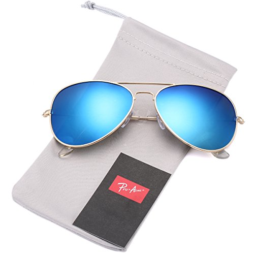 Pro Acme Classic Polarized Aviator Sunglasses for Men and Women UV400 Protection (Gold Frame/Blue Mirrored ()