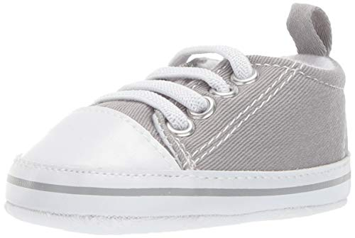 Little Me Baby Sneakers with Laces, Grey, Denim, 0-6 Months US Infant