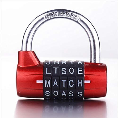 Candado de cerradura de 5 letras  rojo
