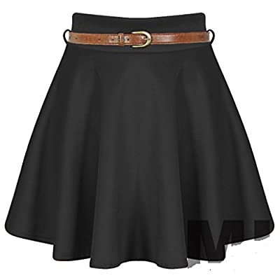 ZJ Clothes Womens Belted Flared Mini Skater Skirt