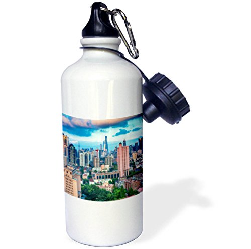 Pudong Shanghai China (3dRose Danita Delimont - Cities - Skyscrapers in downtown city skyline, Pudong, Shanghai, China - 21 oz Sports Water Bottle (wb_257157_1))
