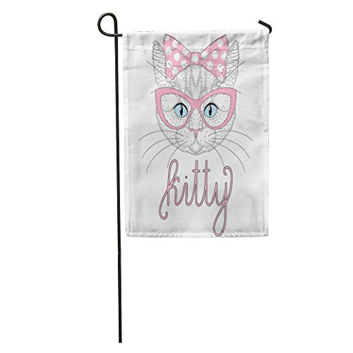 Semtomn Garden Flag Cute Anthropomorphic Kitty Portrait Pin Up Bow on Head Cat Home Yard House Decor Barnner Outdoor Stand 28x40 Inches Flag