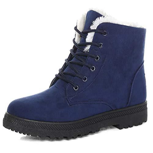 Platform Women Shoes Suede Size up Winter Warm Boots Flat Lace Plus Snow Sneaker Blue Odema 8wvdq8