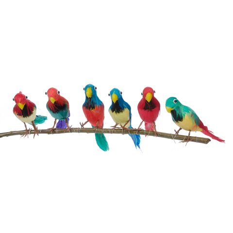 "Package of 6 Bright Color Tropical 6"" Feathered Artificial Parrots"