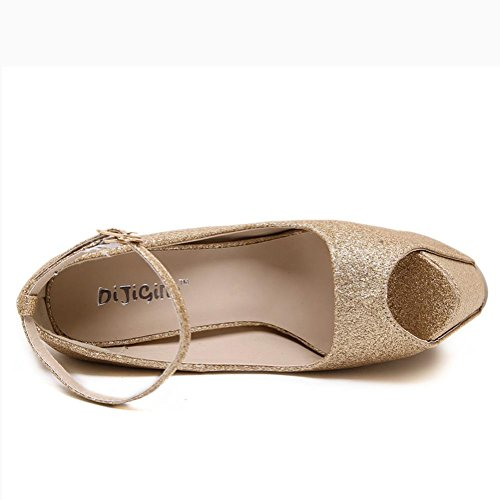 L@YC Tacones altos De Las Mujeres Cristal Transparente 19 Cm De TacóN alto De Mesa Impermeable Zapatos De Baile Yellow