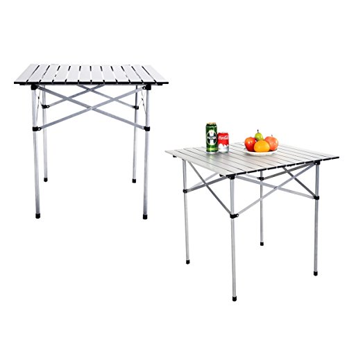 Folding Picnic Table Square Lightweight Portable 2pcs Aluminum Outdoor Garden with Bag