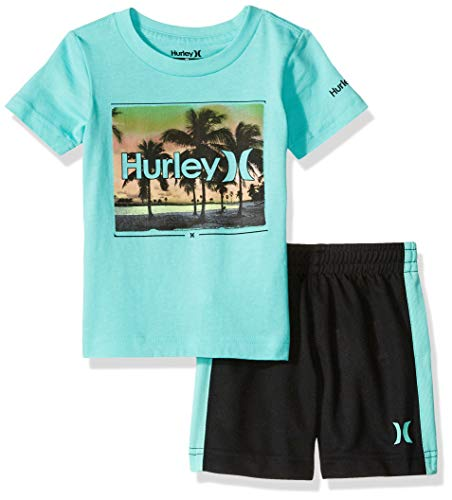 Hurley T-shirt Shorts - Hurley Baby Boys' Little Graphic T-Shirt and Shorts 2-Piece Outfit Set, Black Moto, 6