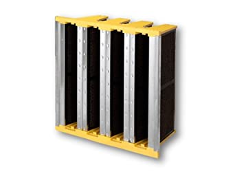 """Filtration Group 40223 Carbon FP FP V-Bank Gas Phase Air Filter, Heavy-duty Galvanized Steel and Plastic, with 3/4"""" Honeycomb Media Packs (Activated Carbon), Yellow/Silver/Black, 12"""" Height x 24"""" Width x 12"""" Depth (Case of 1)"""