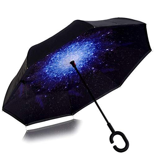 Reverse Star - WJASI Windproof Large Inverted Umbrella, Double Layer Reverse Umbrella for Women Men with UV Protection, Handsfree Reversible C Umbrella for Rain Car Outdoor Use- Blue Star Inverted Umbrella