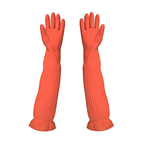 Extra Long Rubber Gloves - SYROVIA Household Arms Length Rubber Latex All Purpose Cleaning Long Glove Reusable Kitchen Natural Rubber Living Wash Gloves