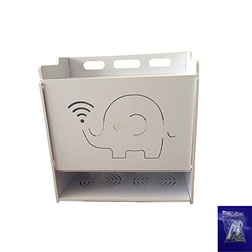 Modem Cover - WiFi Router Cable Power Plug Wire Storage Boxes Wall Mount Floating Shelf Storage Rack Containing Box