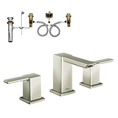 Moen KL90-D-TS6720BN 90 Degree Two-Handle Widespread Lavatory Faucet, Brushed Nickel