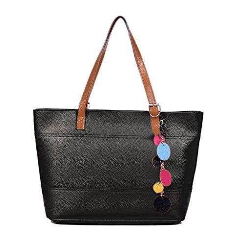 Donne Tote - All4you Ladies moda in pelle borsa carina spalla Borsa Shopper Tote borsa (nero)