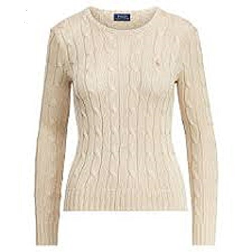 Polo Ralph Lauren Women's Long Sleeve Cable Crewneck Sweater (S, Natural) (Natural Cable Sweater)
