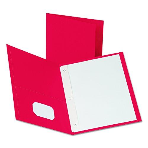 Esselte Presentation Folders - Oxford Two-Pocket Folders w/Fasteners, Red, Letter Size, 25 per box (57711)