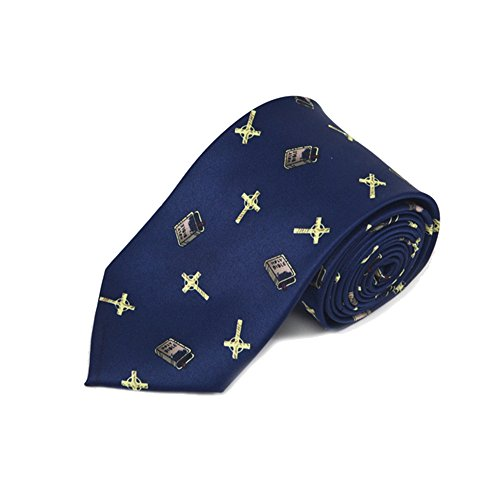 Men's Navy Blue Christian Bibles & Crosses Necktie Tie
