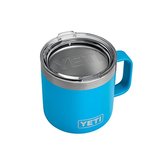 YETI Rambler 14 oz Stainless precious metal hoover Insulated Mug along with helmet Tahoe Blue Thermoses