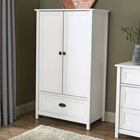 Better Homes and Gardens Lafayette Armoire,White   2 adjustable shelves   1 drawer with metal runners and safety stops features patented T-lock assembly system