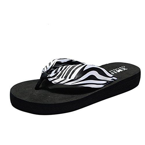 Angelliu Nieuwe Vrouwen Zomer Bohemien Vlek Strand Reizen T-strap Slippers Slippers Flats Zebra