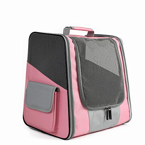 XMSG Backpack Pet Carrier, Airline Approved Soft Sided Tote for Cats & Small Dogs, Designed for Biking, Travel, Hiking & Fun with Your Pet,Pink