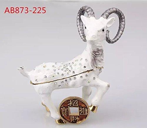 Horn Ram Sheep Goat Figurine Ornament Trinket Hinged Pill Box New Decorative (103.48.8 CM (LWH)) (Trinket Hinged Box Pill)