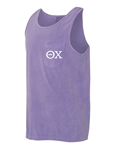 Theta Chi Fraternity Comfort Colors Pocket Tank Top (Small, Violet)