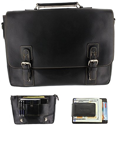 Viosi Mens RFID Leather Messenger Bag / 14 or 16 Inch Laptop Briefcase Shoulder Satchel Bag / RFID Money Clip Included by Viosi
