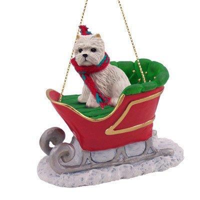 amazon com westie sleigh dog christmas ornament home kitchen